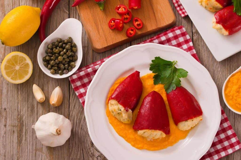 Cod stuffed pepper